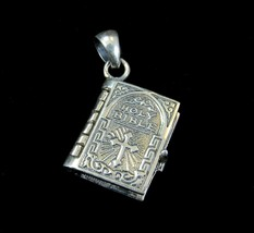 Solid 925 Sterling Silver Hinged Holy Bible w/ Lord's Prayer on Pages Pe... - $24.70