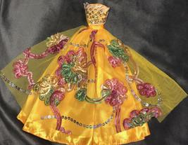 Vintage Handmade Golden Yellow Barbie Dress Floral Flower Pink Green - $49.50