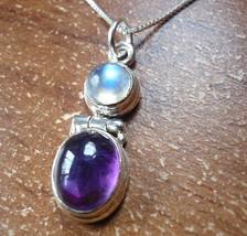 Moonstone and Amethyst 925 Sterling Silver Pendant Corona Sun Jewelry - $481,11 MXN