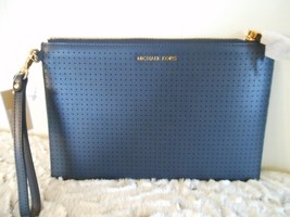 NWT Michael Kors XL Zip Clutch/Wristlet/Tablet Case Blue Perforated Leather - $64.14