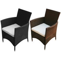 2pc Outdoor Rattan Wicker Patio Furniture Dining Arm Chairs Garden Brown... - $105.99