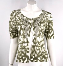 Chicos Cardigan Sweater Sz Medium 1 Green White Embroidered Linen Blend Hook Eye - $15.84