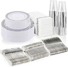 BUCLA 350PCS Silver Plastic Plates with Disposable Plastic Silverware&Ha... - $41.99