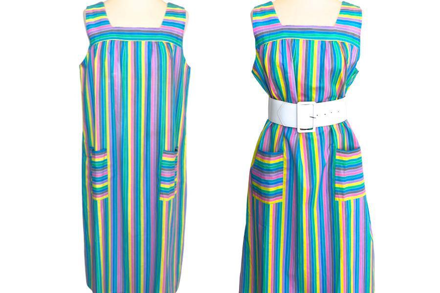 60s/70s French Vintage Candy Pastel Stripe Cotton Sun Dress, Blue, Green, Pink,