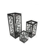 Set of 3 Black French Country Garden Floral Pillar Candle Holder Lantern... - $33.73