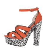 Qupid Orange Sandal Heel Unique Woven Platform & Heel Size 6-1/2 New w B... - $23.00