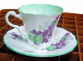 Purple Violets Adderly Demistasse Size Cup & Saucer Vintage Item - $9.95