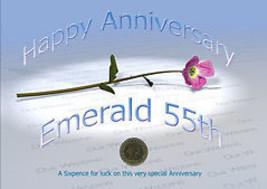 Sixpence Pour Luck 55ème Émeraude Anniversaire Mariage Carte - Anniversaire - $11.71