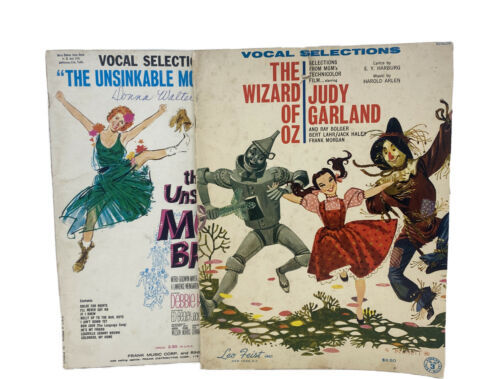 Primary image for Lot Vtg 1960s Musical Theatre Sheet Music: Unsinkable Molly Brown & Wizard Of Oz