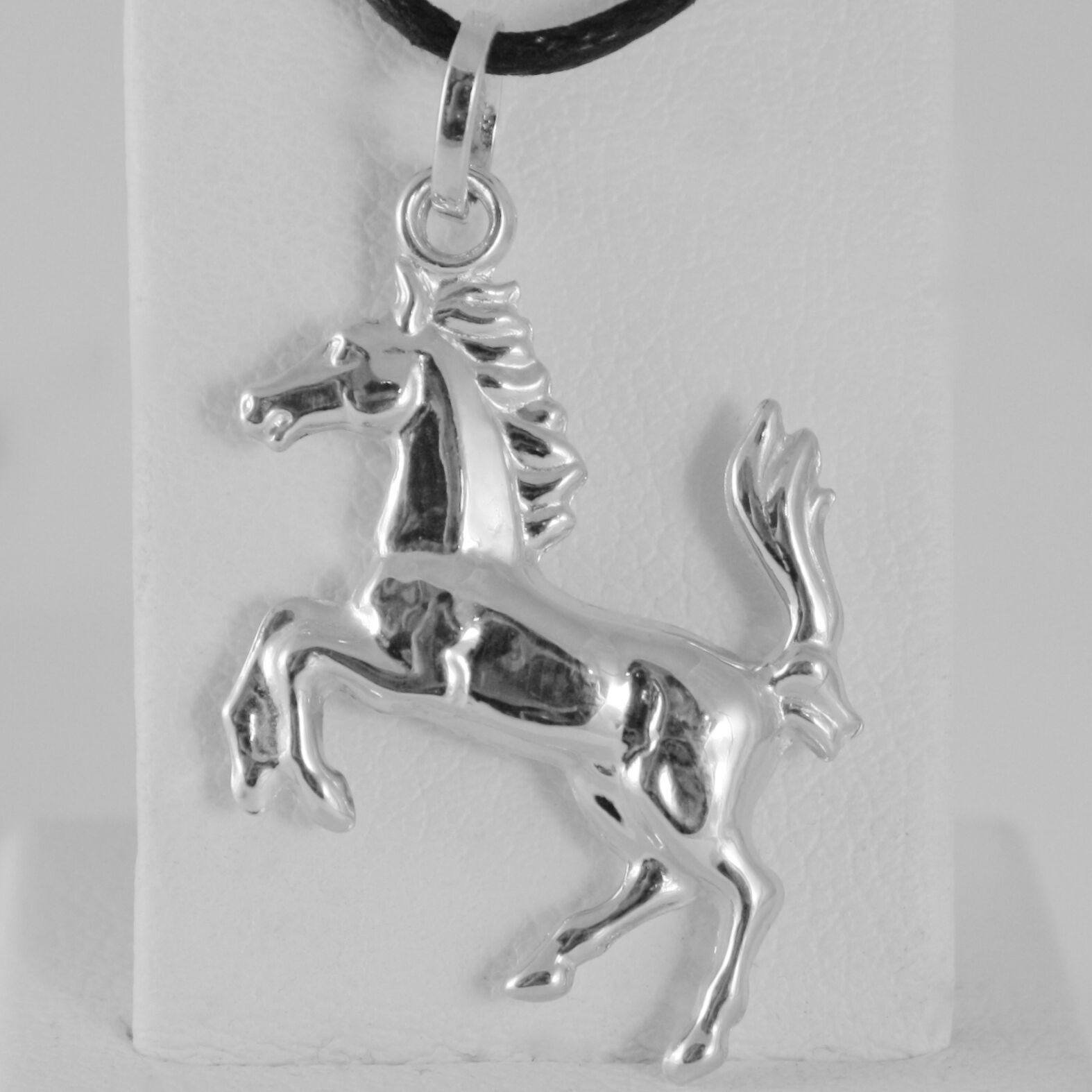 18K WHITE GOLD ROUNDED HORSE PENDANT CHARM 32 MM SMOOTH BRIGHT MADE IN ITALY