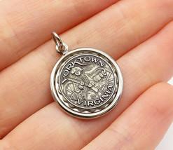 925 Sterling Silver - Vintage Petite Round Yorktown Virginia Pendant - P... - $22.44