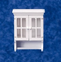 DOLLHOUSE MINIATURES WHITE TOWEL CABINET WITH BAR #T5032 - $15.83