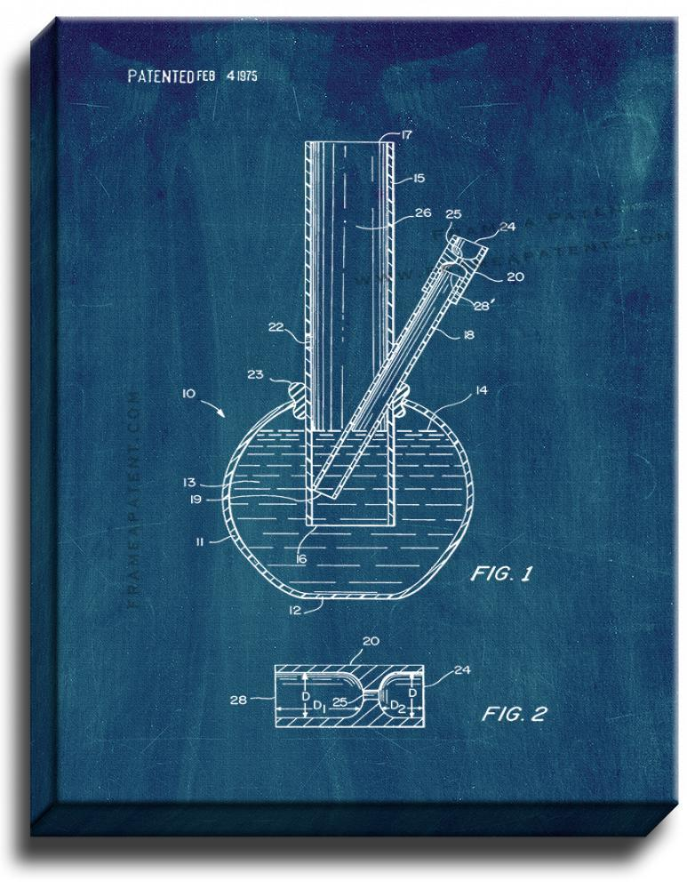 Primary image for Smoking Device Bong Patent Print Midnight Blue on Canvas