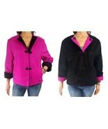 MYCRA PAC S/M hot pink black faux astrakhan reversible Asian inspired ja... - $38.61