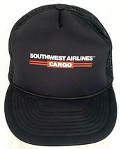 Vtg Southwest Airlines Cargo Trucker Hat-Mesh-Black-Rope Bill-San Sun - $24.30