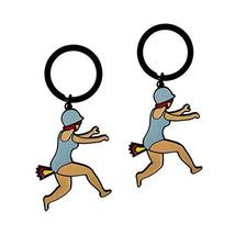 Set Of 2 Creative Endearing Vintage Style Key Chain/Car Key Ring (Girl)