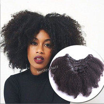 Afro Kinky Curly Mongolian Clip In Human Hair Extensions 8A Clip In Hair... - $37.93+