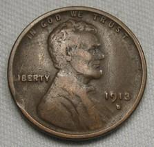 1913-S Error Lincoln Wheat Cent Clipped Planchett CH F Coin AE477 - $24.12