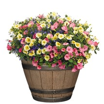 "15"" Vintage Look Whiskey Barrel Flower Pot Planter Garden Decoration UV ... - $30.07 CAD"