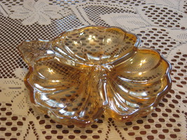 Jeannette Glass-Marigold-Shamrock/Clover-Divided Candy Dish-1900's-USA - $10.00
