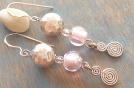 Spiral Pink Earrings Sterling Silver Dangle Earrings Handmade - $14.90