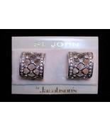 St. John Crystal Rhinestone Hoop Clip On Earrings Jewelry Card Original ... - $118.78