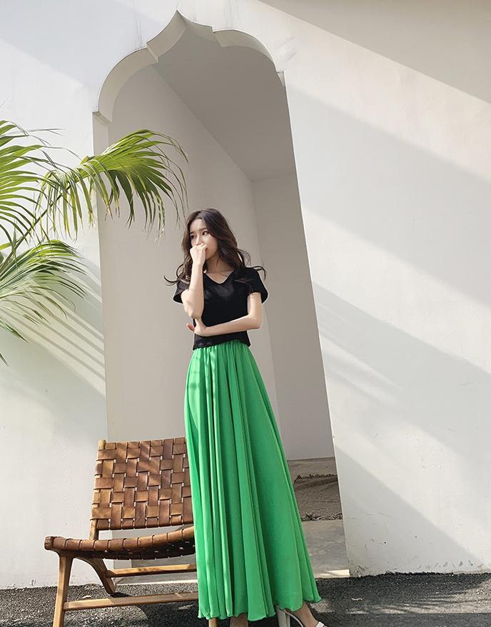 Green chiffon skirt 3