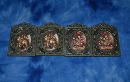 LOT OF 4 VINTAGE ORNATE PICTURE FRAME WITH FLOWER ART PRINT ITALY SMALL - €36,25 EUR