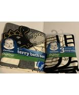 Gerber Baby Boy 4-Piece Dinosaur Organic Cotton Terry Bath Set & 3 Burp ... - $19.39