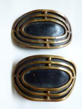 VTG Lot of 2 Brass metal Black leather insert dress belt or shoes Buckles Button - $24.75