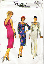 Vintage 1985 Misses' LOOSE-FITTING Pullover Dress Vogue Pattern 9351-v Size 12 - $16.00