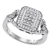 Sterling Silver Womens Round Diamond Rectangle Frame Cluster Ring 1/4 Cttw - $234.74