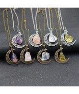 European&American Fashion Hollow Moon & Natural Stone Necklace Simple Or... - $8.19