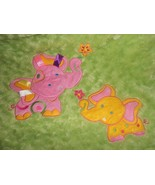 Soft & Cuddly Baby Blanket Elephants Mommy Baby Ribbon Tags Pink Green S... - $29.67