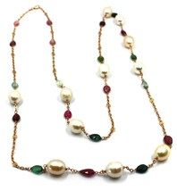 """18K ROSE GOLD LONG NECKLACE ROLO CHAIN, BIG 12mm PEARLS & TOURMALINE DROPS 35.4"""" image 1"""