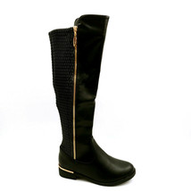 Top Moda Womens Ginger 5 Faux Leather Riding Boots Zip Elastic Shaft Bla... - $42.56