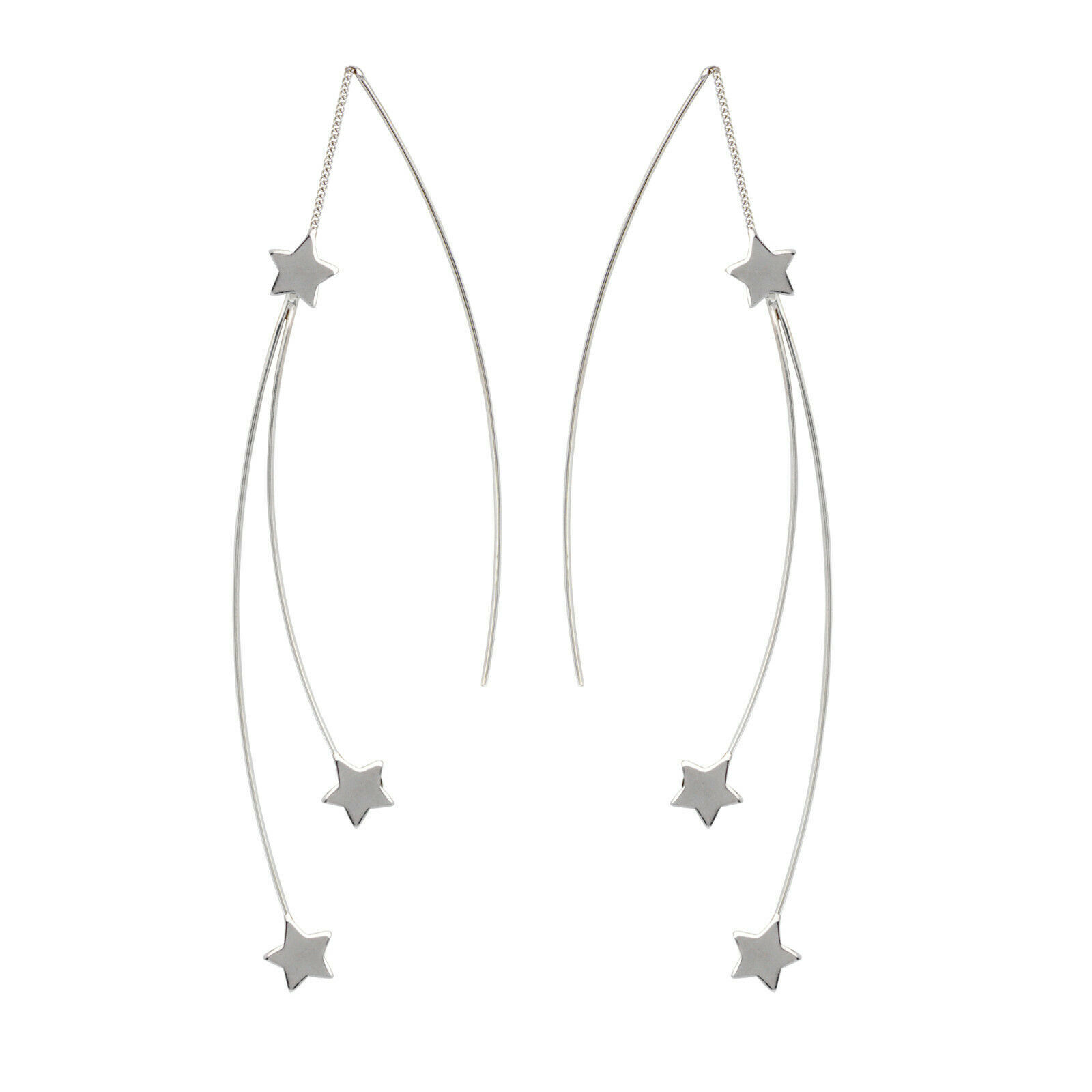 Primary image for 925 Sterling Silver Fancy Double Star Threader Fashion Earrings