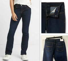 Gap Kids Girl's Jeans Mid Rise Straight Fit Stretch Denim Jean, Dark Rinse Blue - $19.99