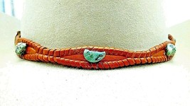 Tan Scalloped HATBAND Braided LEATHER with Genuine TURQUOISE STONES Hat ... - $35.14