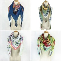 Lady Square Tassel Neon Color Female Spring Summer Scarf Women Soft Silk... - $13.29