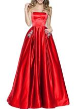 Women's Strapless Beaded Prom Dresses Long Homecoming Party Gowns with P... - $116.99