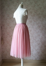 Dusty Rose High Waist Midi Tulle Skirt Dusty Rose Bridal Bridesmaid Tulle Skirts image 4