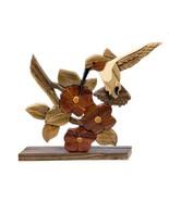 Hummingbird Bird Flower Intarsia Wood Table Top Home Decor Figurine Lodg... - $36.58