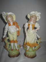 "Pair Antique German Porcelain Bisque Figurines Man & Woman 9"" Set Numbered - $173.25"