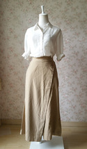 Summer Khaki Linen Pants Wide Leg LINEN Cotton PANTS Women Wrap Palazzo Pants - £38.89 GBP