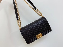 AUTHENTIC CHANEL LE BOY BLACK QUILTED LAMBSKIN MEDIUM FLAP BAG GHW image 9