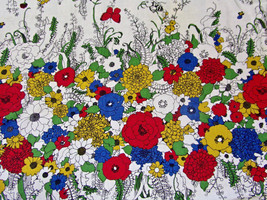 """Primary Color Floral Garden Tablecloth Oblong 88"""" x 57"""" - $23.76"""