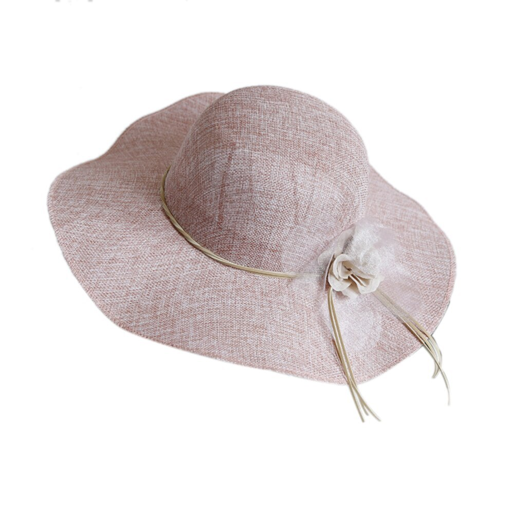 Wide Brim Floral Bow Straw Hat Women Beach Sun Hats Summer Floppy Cap Travel UV  image 2