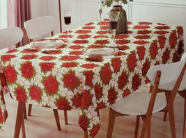 "1 Printed Fabric Tablecloth, 52""x70"" Oblong, CHRISTMAS POINSETTIA ,AFY - $19.79"