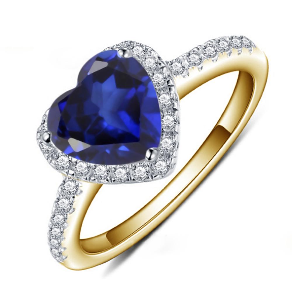 Heart Shape Blue Sapphire Stone Halo Ring 10k Yellow Gold Finish 925 Pure Silver - $68.99